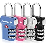 Fosmon TSA Approved 3 Digit Combination Luggage Locks with Open Alert Indicator and Release Button - 4 Pack (Black, Blue, Pin
