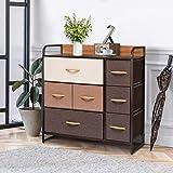 Crestlive Products Wide Dresser Storage Tower - Sturdy Steel Frame, Wood Top, Easy Pull Fabric Bins, Wood Handle - Organizer
