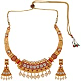 Efulgenz Indian Bollywood Traditional 14 K Gold Plated Kundan Pearl Wedding Choker Necklace Earrings Jewelry Set