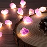 JASHIKA Nature Genuine Amethyst Healing Crystal String Lights 10ft Battery Operated with Remote for Hanging Reiki Party Ornam
