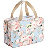 Waterpoof Toiletry Bag for Women Cosmetic Travel Case, Blue Rose Large Bathroom Shower Bag for Girls Make Up Organizer, Porta
