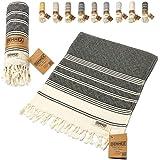 DEMMEX認定 100%オーガニックコットン&オーガニック染料 プレウォッシュド ダイヤモンド織り トルコハンドフェイス ジムタオル 18x36インチ ブラック 2枚セット