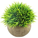 Svenee Mini Artificial Plants, Plastic Green Grass Faux Greenery Topiary Shrubs with Grey Pots for Bathroom Home Office Décor