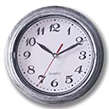 Decorative Silent Wall Clock Non-ticking Decor Wall Clock 8 Inches Vintage Silver Metalic Looking Easy to Ready For Home/Scho