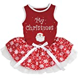 Petitebella My Christmas Santa Claus Red Cotton Shirt Tutu Puppy Dog Dress (Red Snowflakes Tutu, Small)