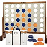 Giant 4 in A Row, 4 to Score - Premium Wooden Four Connect Game Set in White or Wood Grain and 3 Size Options (2', 3', 4') -