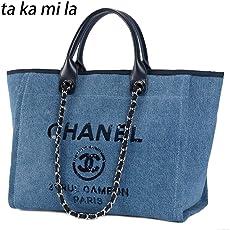 Beach Tote Bag Handbag トートバッグ 2Way キャンバス 大容量 通勤 バッグ 金具シルバー ショルダーバッグ 人気モノ レディーストートビーチバッグ 多色入り [並行輸入品]