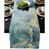 Burlap Table Runner 120 Inches Long,Abstract Blue Marble Linen Dinner Table Setting Decor for Wedding Gatherings Party Baby S
