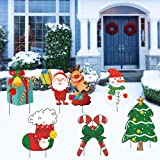 Christmas Decorations Outdoor Yard Signs with Stakes, Santa Claus Yard Signs for Christmas Yard Lawn Party Decorations, Candy
