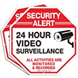 """Video Surveillance Signs (2 Pack), 12"""" x 12"""" Rust Free .040 Aluminum Security Warning Reflective Metal Signs, Indoor Or Outdo"""