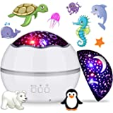 360° Rotating Night Light Projector for Kids, MIANTANG 2 in 1 Starry Sky and Sea World, 8 Colors Baby Night Lights Projector,