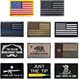 Antrix 13 Pieces Great Value Tactical US Flag Patch America Punisher Morale Patch Full Embroidery Military Patch Set for Caps