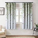 Topfinel カーテン 北欧 青いの葉 可愛い お洒落 幅100x丈130cm 2枚組 遮光 防寒 UVカット 腰窓…
