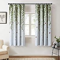 Topfinel カーテン 北欧 青いの葉 可愛い お洒落 幅100x丈110cm 2枚組 遮光 防寒 UVカット 腰窓…