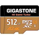 【5年データ回復保証】【Nintendo Switch対応】 Gigastone Micro SD Card 512GB マイクロSDカード 4K Game Turbo A2規格 100/80 MB/s 4K撮影 SDXC UHS-I A2 4K C