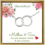 ALoveSoul Mother Son Necklace - Sterling Silver Two Interlocking Infinity Circles Necklace Jewelry, Birthday Women