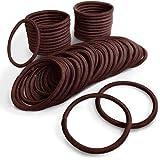 (PETIT AMORE) ヘアゴム リングゴム 大容量 50本セット 結び目・接合なしタイプ 太さ 4mm ココアブラウン