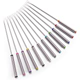 """Set of 12 Stainless Steel Fondue Forks 9.5"""" - Color Coding Cheese Fondue Forks with Heat Resistant Handle for Chocolate Fount"""