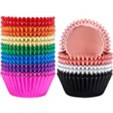 BAKHUK 500pcs Standard Size Cupcake Liner, 2 Inches 10 Colors Foil Baking Cup Wrapper Muffin Case Decoration Cups for for Wed