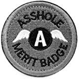 (gray) - WZT Asshole Merit Badge Morale - Tactical Patch (grey)