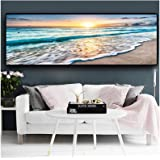 Print on Canvas Natural Beach Sunset Landscape Posters and Prints Canvas Painting Wall Art Picture Decor (60X180cm) Frameless