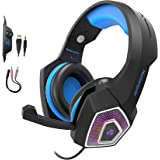 Gaming Headset for PS4 Xbox One, YCCSKY Wired Over Ear Headphone PC USB Gaming Headset with Noise Canceling Mic and LED Light