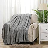 Flannel Fleece Blanket Throw Super Soft Lightweight Cozy Plush Microfiber Solid Fleece Blanket,Twin Size 60 x 80 Inch, Grey