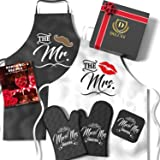 Mr & Mrs Aprons For Happy Couple - Memorable Bridal Shower Gifts For Bride, Engagement Gifts For Her, Wedding Gifts For The C