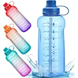 Half Gallon/64 oz Motivational Water Bottle with Time Marker Reminder & Straw, Leak-proof No BPA Hydration Sports Daily Water