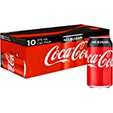 Coca-Cola No Sugar Soft Drink Multipack Cans, 10 x 375 ml