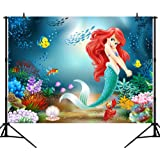 CapiSco 5X3FT Mermaid Backdrop Under The Sea Little Mermaid Fairy Tale Backdrops for Baby Child Girls Adult Birthday Party Ba