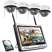 防犯カメラ ワイヤレス 屋外 室内 300万高画素 1536P 12インチモニター付き IPS液晶パネル 録音可能 1T…
