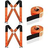 運搬 ベルト キャリーベルト 冷蔵庫 運搬ベルト 家具移動 2本セット 女性2人でも 重たい荷物を楽々運べる 耐荷重200KG 負荷軽減 取り付け簡単 長さ調整可能 持ち運び便利 引越し 家具の運搬に最適(オレンジ)