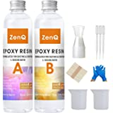 ZenQ Crystal Clear Epoxy Resin Kit for Casting and Coating, Jewelry, Wood, Countertop, 16 Ounce with Bonus 20 Measuring Cups,