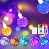 Color Changing Globe String Lights USB Plug, 16.4 ft 50 LEDs Crystal Bubble Ball Fairy Lights with Remote Control Timer Ambie