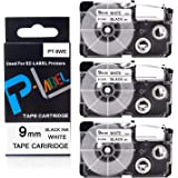 Pristar Compatible Label Tape Replacement for XR-9WE XR-9WE2S for Casio Label Maker Tape 9mm Black on White Use with Casio La