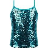 JEATHA Kids Girls Shiny Sequins Adjustable Spaghetti Shoulder Straps Tank Top Hip Hop Modern Street Dancing Costumes
