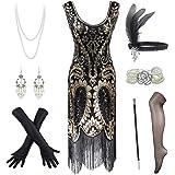Fancy Clothing Women's Flapper Dress Sequin Cocktail 1920s Gatsby Dress w/Accessories Set