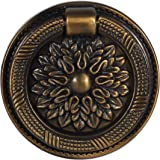 HAOTH 8 Pcs Antique Drawer Pull Ring Cabinet Ring Handle Cabinet Drawer Dressing Knob Handle Antique Brass (Φ60 mm/2.35inch)