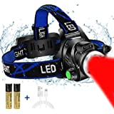 Red Light Headlamp, USB Rechargeable Headlamp, Zoomable Waterproof Red LED headlight with 3 Mode For Camping Hiking hunting A