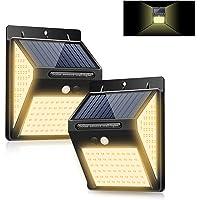 暖色系 LED ソーラーライト センサーライト 3面発光 屋外照明 人感センサー 3つ点灯モード 防水 防犯ライト 両面…
