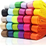 JUSLIN 30-Colour 1cm Grosgrain Ribbon, 60 yards (30x 2 yards), for Gift Wrapping & DIY Bow Hair Accessories
