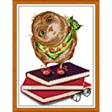 Maydear Stamped Cross Stitch Kits 14CT Pre-Printed Cross-Stitching Embroidery Starter Kit for Adults Beginners - Owl Reading