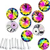 HOSL 10pcs Colorful Crystal Glass Cupboard Wardrobe Cabinet Drawer Knob Door Pull Handle