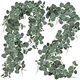 SUPLA 2 Pcs Faux Silver Dollar Eucalyptus Leaves Greenery Garland Total 12Ft Long Artificial Eucalyptus Twig Vine Garland Dec