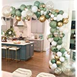 Oopat DIY Sage Green and White Balloon Garland Arch Kit for Baby Shower Bridal Shower Wedding Birthday Hen Party Christmas De