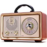 Retro Radio Bluetooth AM FM Portable Radio AC Battery Operated Vintage Tabletop Radio with Big Frequency Scale, AUX TF Card U