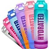 Fidus 32oz Motivational Water Bottle with Time Marker & Chug Lid, Leakproof BPA Free Tritan Wide Mouth, Ensure You Drink Enou