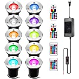 INNERWILL Landscape Lighting 10Pack 3W RGB INNERWILL Color Changing LED Lights Low Voltage IP67 Waterproof Ground Light with