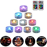 10 Pack Submersible LED Lights Remote Controlled Underwater Tealight Waterproof Multicolored RGB Lights Battery Operated Hot